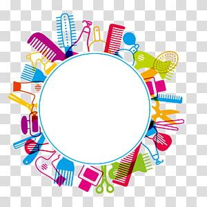 ferramentas de cabelo redondo de cores sortidas, ilustração de quadro, Pente cabeleireiro salão de beleza Cosmetologia, caixa de diálogo Salões de beleza PNG clipart