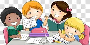 Criança, estudantes, grupo de crianças estudando ilustração PNG clipart