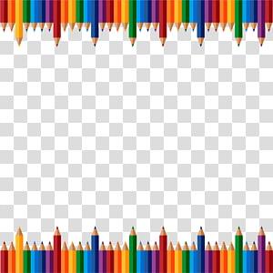 quadro de lápis de cores sortidas, material escolar, lápis de fundo pintados à mão PNG clipart