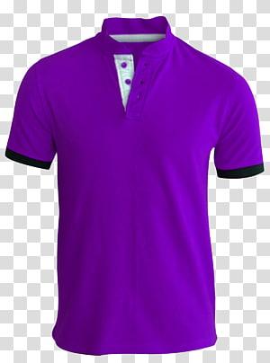 camisa polo roxa com guarnição preta, camisa polo de camiseta impressa, camiseta de homem PNG clipart