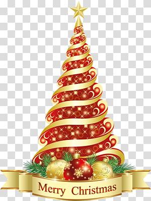 Christmas tree Christmas ornament, Merry Christmas Red Tree, adesivo de feliz Natal vermelho e amarelo png