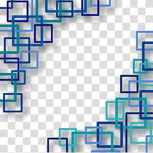 Forma de retângulo euclidiano quadrado, fundo de tecnologia, arte quadrada azul e verde-azulado PNG clipart