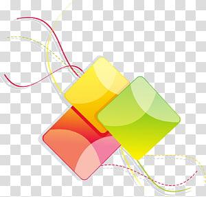 Ícone de geometria de linha, quadrados geométricos de linhas abstratas coloridas, três ilustração de cubo verde, amarelo e vermelho PNG clipart