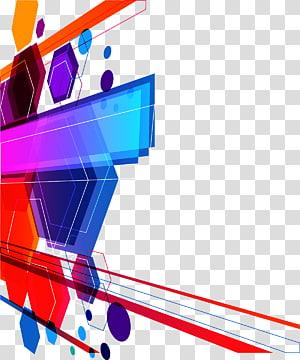 borda azul, vermelha, roxa e amarela, arte abstrata euclidiana, fundo colorido tecnologia PNG clipart