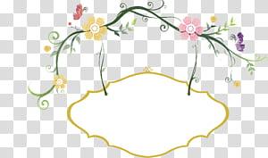Hashtag Comer, flores frescas, borda pintada à mão, ilustração de flores amarelas e rosa png