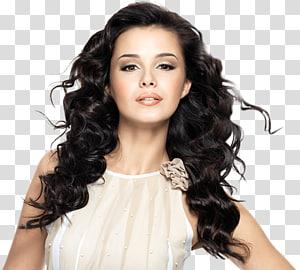 mulher vestindo blusa bege sem mangas, cabelo ferro salão de beleza penteado integrações artificiais, salão de beleza s PNG clipart