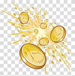 ilustração de moedas de ouro 1 cor, Cent Penny Money, Shining Cents png
