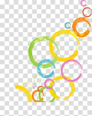 Desenhos animados, círculo colorido dos desenhos animados abstratos, arte amarela, verde e laranja das bolhas PNG clipart