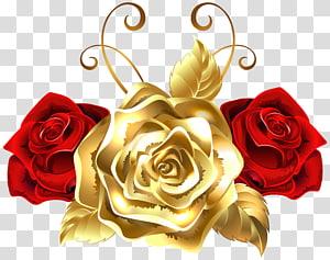 Rose Gold Yellow, Gold e Red Roses, duas rosas vermelhas e uma ilustração de ouro PNG clipart
