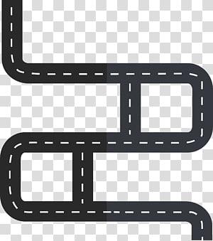 ilustração de estrada preto, obras rodoviárias Cartoon tráfego, estrada sinuosa png