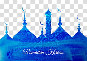 Ilustração de texto Ramadan Kareem, Ramadan Eid al-Fitr Eid Mubarak Islam, Mesquita Azul PNG clipart