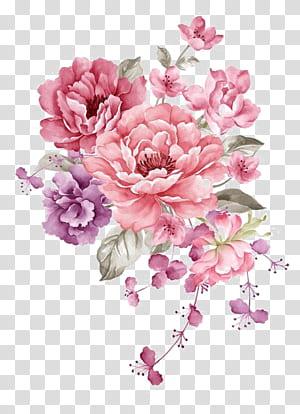 Ilustração de pintura em aquarela de papel de flor, flores de tinta rosa, flores cor de rosa e roxas PNG clipart