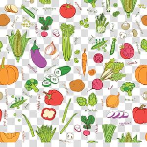 ilustração de vegetal sortida, auglis de frutas vegetais, frutas e vegetais coloridos fundo PNG clipart