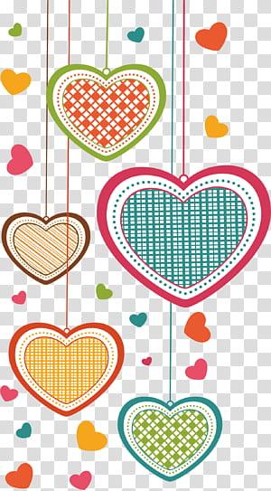 Cartão de felicitações Apaixonar-se Desenhos animados, amor, ilustrações multicoloridas de coração PNG clipart