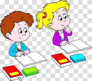 ilustração animada de menino e menina, escrita infantil, uma criança que frequenta a escola, ouve e escreve PNG clipart