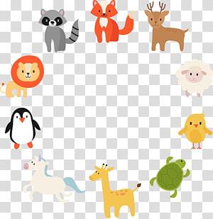 ilustração animal sortida, desenho animal, material anel de animais dos desenhos animados composto por PNG clipart