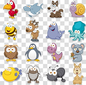 Animal engraçado, coleção de animais versão Q, close-up de animais variados PNG clipart