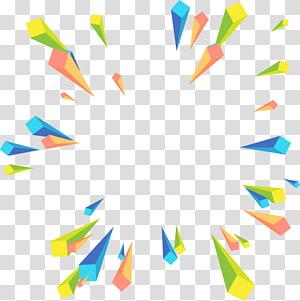 Geometria euclidiana, perspectiva radial geométrica abstrata colorida, ilustração verde, azul e amarela PNG clipart