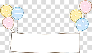 sinalização com ilustração de balões, padrão de papel amarelo, borda de balão png