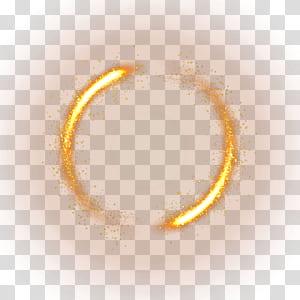 Luz, material de efeito de luz amarela, círculo de faíscas de luz PNG clipart