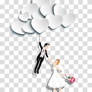 Adesivo de parede flor, flor, homem segurando balões enquanto segura adesivo de mulher png