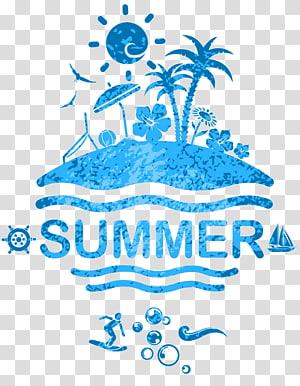 ilustração azul verão, cartaz, verão png