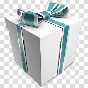 Presente, presente, caixa de presente branca e verde PNG clipart