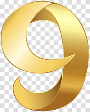 ilustração número 9 de cor dourada, número, ouro número nove PNG clipart