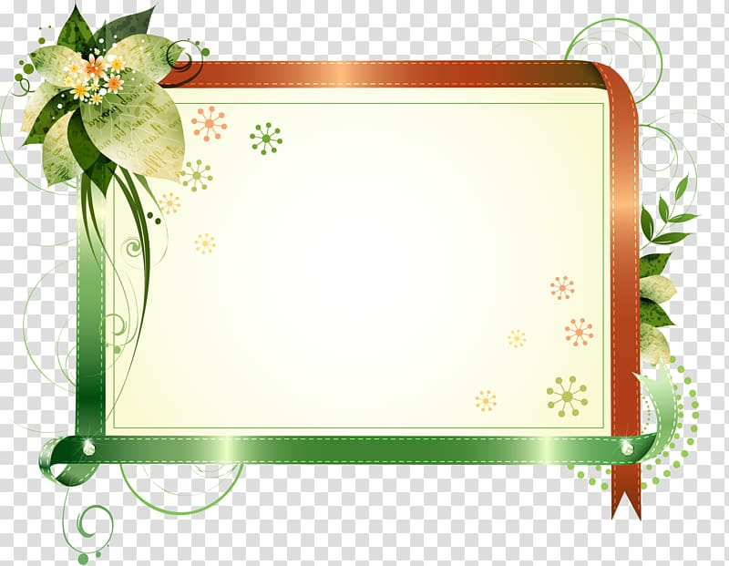 ilustração de folhas verdes, moldura, caixa de título de borda de fita bonita png