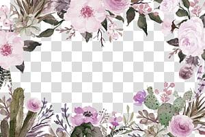 Corte flores Pintura em aquarela, flores roxas fronteira textura, modelo floral roxo e verde png