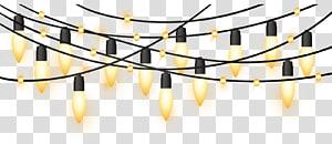 luzes de corda iluminadas, luzes de Natal, luzes amarelas decorativas para festas de efeito de luz PNG clipart