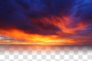 pôr do sol no horizonte, nuvens douradas PNG clipart