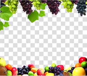 quadro de frutas sortidas, suco de frutas e legumes uva, fronteira de frutas png