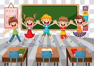 ilustração animada de cinco crianças pulando, ilustração da educação da sala de aula da escola do estudante, sala de aula da escola primária dos desenhos animados PNG clipart