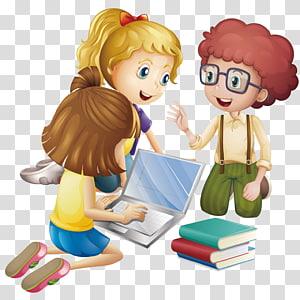 menina animada usando laptop, aluno dos desenhos animados, educação, alunos discutem aprendizagem PNG clipart