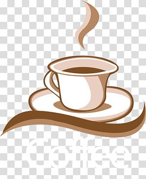 ilustração de café com sobreposição de texto, café espresso café logotipo, material de café png