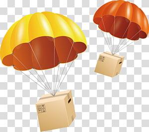ilustração de caixas marrom, pára-quedas pára-quedista euclidiano, pára-quedas PNG clipart