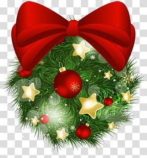 Ilustração com tema de Natal, enfeite de Natal, bola de pinheiro de Natal com laço vermelho PNG clipart