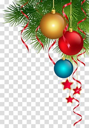 ilustração de enfeites verdes e vermelhos, enfeite de natal, luzes de natal, árvore de natal, decoração de natal PNG clipart