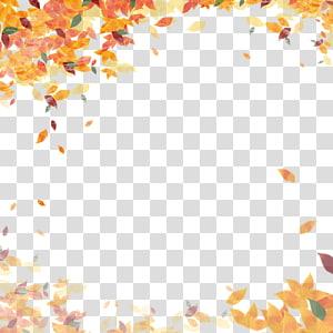 arte de folhas laranja e multicolorida, cor de folha de outono, quadro de pôster de outono PNG clipart