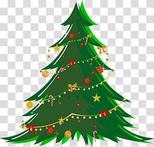 Árvore de Natal, grande árvore de Natal verde com ornamentos, ilustração de árvore de Natal verde PNG clipart