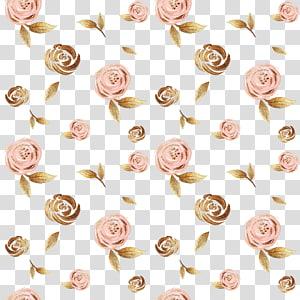 ilustração de flores de pêssego e marrom, flor Fundal, folha de ouro puxar flores de tinta fundo grátis PNG clipart