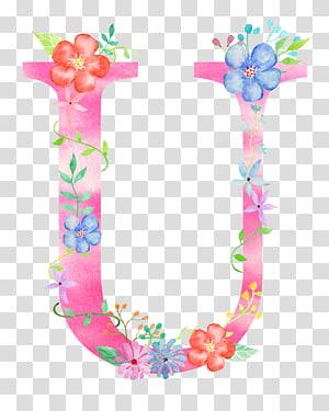 rosa U com flores, letra U fonte, letra de flores U PNG clipart