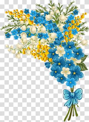 Buquê de flores Design floral ícone, buquê de flores, ilustração de flores de pétalas brancas, azuis e amarelas png