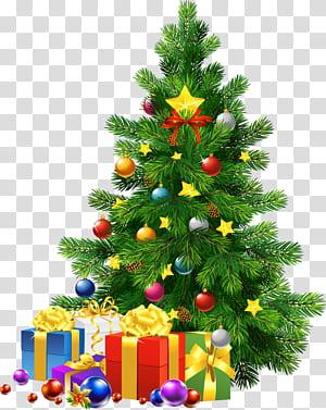 Árvore de Natal do Papai Noel no dia de Natal, grande árvore de Natal com presentes, camiseta de Natal e presente PNG clipart