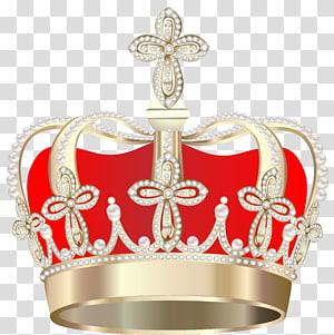 Coroa, coroa, ilustração de coroa dourada e vermelha PNG clipart