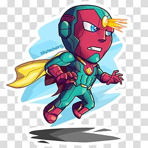 Ilustração da visão, Vision Art Superhero Spider-Man Chibi, chibi superman png