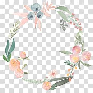 flores laranja e verdes, pintura em aquarela grinalda da flor, grinalda floral PNG clipart