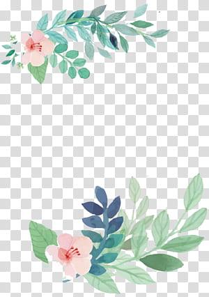 Convite de casamento Pintura em aquarela Flor, flores, flores cor de rosa com pintura de folhas verdes png
