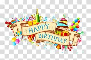 Bolo de aniversário Cartão, material de fundo de aniversário linda fita, ilustração de feliz aniversário png